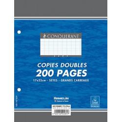Copies doubles 200 pages 90g 17x22 cm perforées seyes (Etui de 50) CONQUERANT - 1