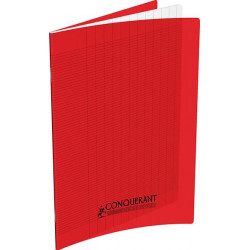 Cahier polypropylène 90g 32 pages seyes 17x22 cm  -  rouge CONQUERANT - 1