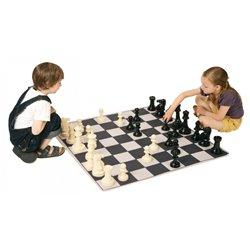 Tapis d'échec et de dames avec pions de dames et pions d'échecs