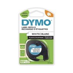 Ruban DYMO pour étiqueteuses LetraTag, plastique 12mmx4m - noir/blanc