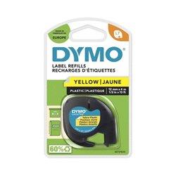 Ruban DYMO pour étiqueteuses LetraTag, plastique 12mmx4m - noir/jaune