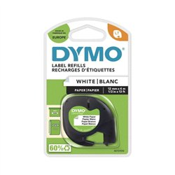 Ruban DYMO pour étiqueteuses LetraTag, papier, noir sur blanc 12mmx4m