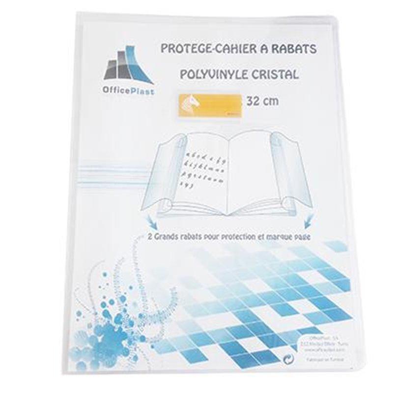 Protège cahier 24x32 cm 2 grands rabats cristal transparent épaisseur: 20/100e - incolore