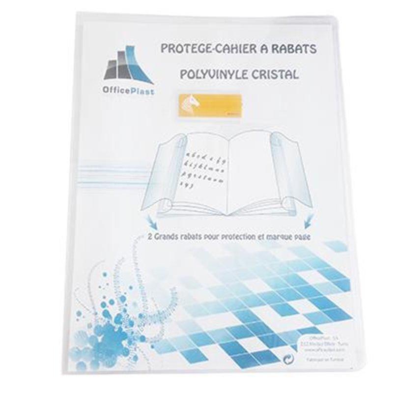 Protège-cahier A4 plastique 2 grands rabats cristal transparent épaisseur: 16/100e - Incolore