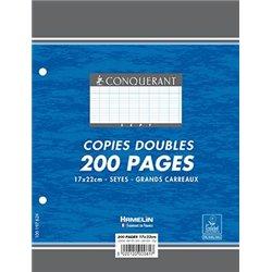 Copies doubles 200 pages 90g 17x22 cm perforées seyes (Etui de 50)
