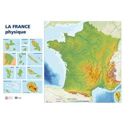 Carte murale muette France physique, recto seul