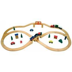 Grand circuit de train en bois
