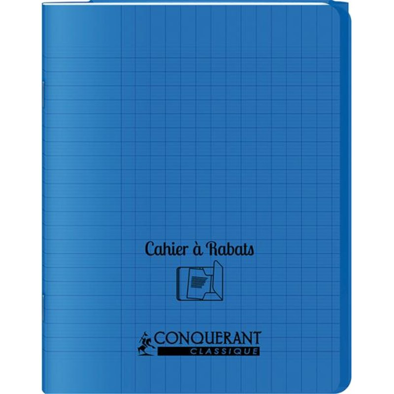 Cahier avec rabats 96 pages seyes, format 17 x 22 cm Polypropylène - Bleu