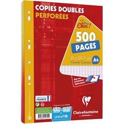 Copie double perforée seyes 500 pages 90 g 21x29.7cm (Etui de 125)