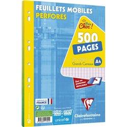 Feuillets mobiles perforés seyes 500 pages 90g 21x29.7 cm (Etui de 250)