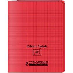 Cahier avec rabats 96 pages seyes, format 17 x 22 cm Polypropylène - Rouge