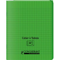 Cahier avec rabats 96 pages seyes, format 17 x 22 cm Polypropylène - Vert