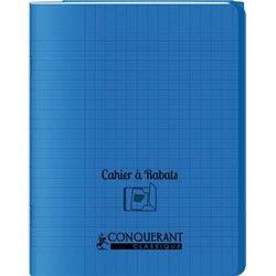 Cahier avec rabats 96 pages seyes, format 24 x 32 cm Polypropylène - Bleu