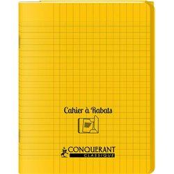 Cahier avec rabats 96 pages seyes, format 17 x 22 cm Polypropylène - jaune