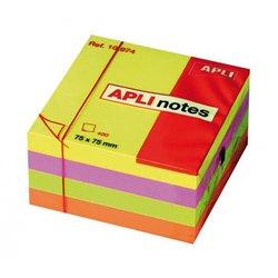 Cube 400 feuilles de notes repositionnables  75x75 mm couleurs fluo assorties