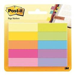 Lot 10 blocs 50 feuilles marque pages 15x50 mm couleurs assorties