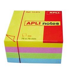 Cube 400 feuilles de notes repositionnables  75x75 mm couleurs pastels assorties