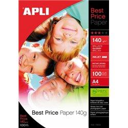 Supports pour imprimantes jet d'encre couleurs  : pochette 100 feuilles papier photo brillant glossy best price 140gr A4
