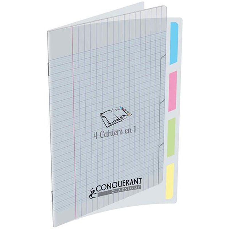 '4 cahiers en 1' couverture polypropylène 17x22 cm piqûre 140 pages seyes 90g