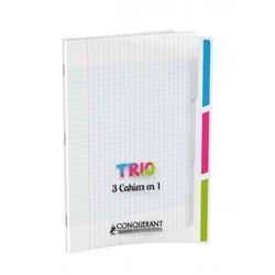 Cahier Trio '3 en 1' couverture polypropylène piqûre 96 pages 90g format 17x22 cm