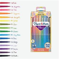 Pochette de 16 Paper Mate Flair FUN Feutres de Coloriage, pointe moyenne 1mm, assortiment de couleurs