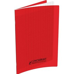 Cahier polypropylène 90g 48 pages seyes 17x22 cm  -  rouge