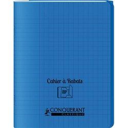 Cahier avec rabats 48 pages Seyes 17x22 cm - Polypropylène bleu