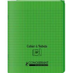 Cahier avec rabats 48 pages Seyes 17x22 cm - Polypropylène vert