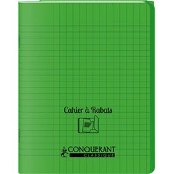 Cahier avec rabats 48 pages Seyes 24x32 cm - Polypropylène vert