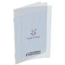 Cahier de poésie piqûre couverture polypropylène blanche translucide 48 pages seyes 17X22 cm