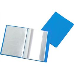 Reliure plastique 20 volets transparents - Bleu