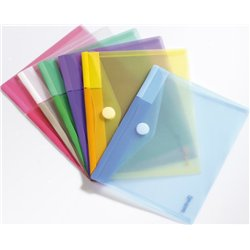 Assortiment de 6 pochettes bande agrippante couleurs assorties 23 x 17.8 cm