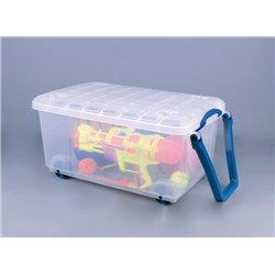Bac de rangement 64 litres incolore avec couvercle, poignées et roulettes