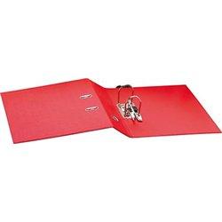 Classeur à levier plastique A4 dos: 75mm avec œillets de blocage et porte-étiquettes - Rouge