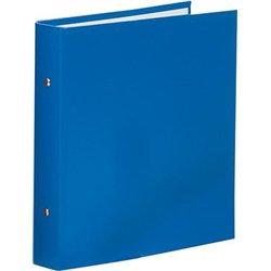 Classeur 17x22 cm rigide collé rembordé, couverture plastique, 2 anneaux diam: 30mm dos: 40mm - Bleu