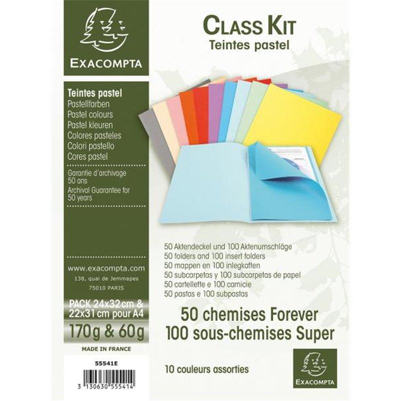 Lot de 50 chemises dossier 170g + 100 sous chemises 60g couleurs pastel assorties