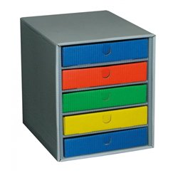 Élément 1 case + 5 tiroirs couleurs assorties L 30,5cm x P 36cm x H 35,5cm