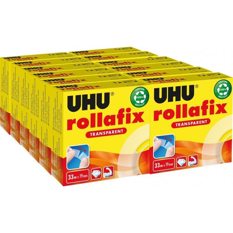 Rollafix Rouleau adhésif transparent 19 mm x 33 m UHU