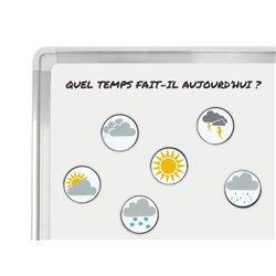 Lot 6 aimants 'météo' illustrés sur les 2 faces Ø 40 mm