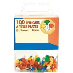 Boite de 100 épingles de signalisation tête plate couleurs assorties