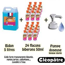 Schoolpack 24 flacons 50 ml + 1 flacon 5 litres colle océane bleue + 1 pompe doseuse