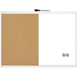 Tableau mixte liège et effaçable a sec, magnétique, encadrement plastique format 58.5 x 43 cm