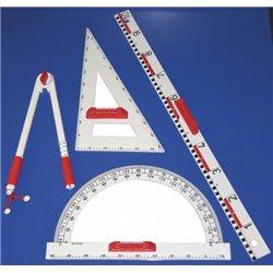 Ensemble plastique aimante comprenant : 1 règle 1 m, 1 équerre 60°,  1 rapporteur 180°, 1 compas 45 cm, à 3 pieds rotatifs.