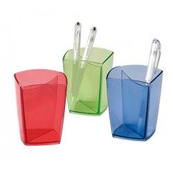 Pot à crayons plastique forme carrée Happy parois épaisses