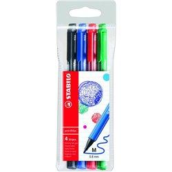 Pochette 4 feutres PointMax Stabilo couleurs bleu, noir, rouge, vert