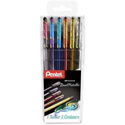 Pochette 6 stylos roller gel encre métallisé