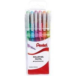 Pochette 6 stylos encre gel pastel Pentel