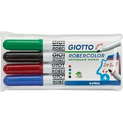 Pochette 4 feutres effaçables à sec Robercolor Giotto pointe ogive moyenne
