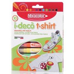 Boite de 10 feutres i.deco t.shirt pointe large couleurs assorties