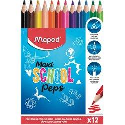 Boite 12 crayons géants triangulaires jumbo School'peps
